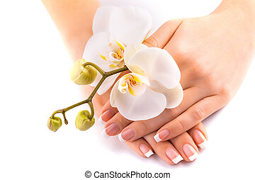 beautifulmanicure with white orchid on white - beautiful...