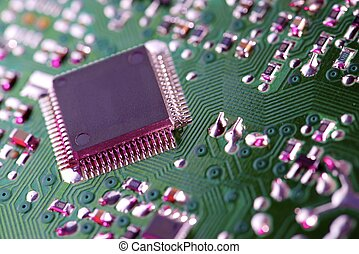 Integrated Circuit - Closeup of a chip in an integrated...