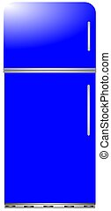 azul, moderno, día, refrigerador
