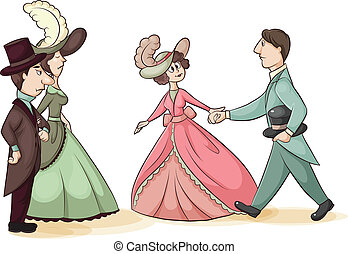 Meet the Parents - vector cartoon illustration of a young...