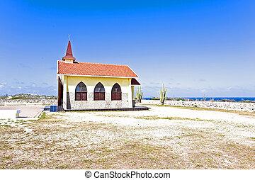 Alto Vista Chapel isolated on Aruba's north shore