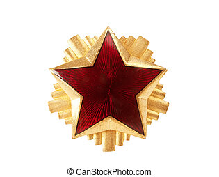 Red star - old red star from military cap, isolated on white...