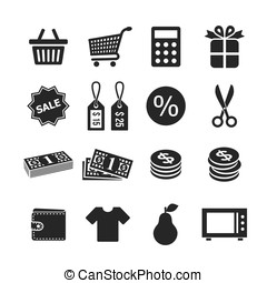 Shopping icons set - Shopping and money icons. Raster...