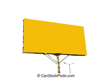 Yellow blank billboard on white surface and background.
