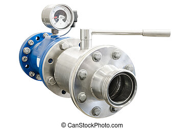 Flange on gas pipe with closed faucet and pressure manometer...
