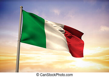 Composite image of italy national flag - Italy national flag...