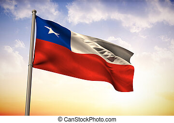 Composite image of chile national flag - Chile national flag...
