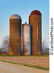 Retired Silos Trio - Three old, overgrown and neglected...