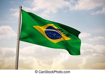 Composite image of brazil national flag - Brazil national...