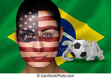 Composite image of america football fan in face paint...