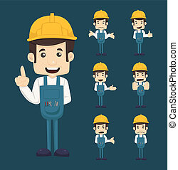 Set of engineer characters poses , eps10 vector format
