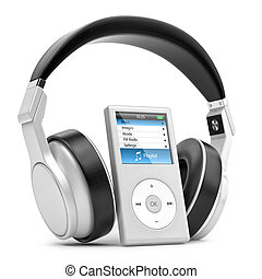 Musical player and headphones - Modern musical multimedia...