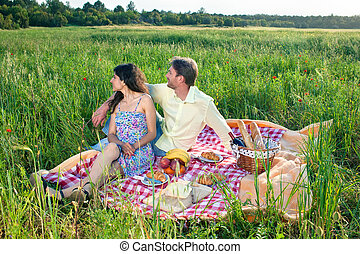 Affectionate young couple on a summer picnic