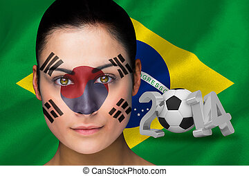 Korea football fan in face paint - Composite image of korea...
