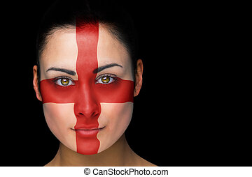Composite image of england football fan in face paint