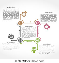 Design Template with Four Elements - Infographics design...