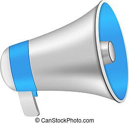 Loudspeaker - Blue loudspeaker on white background, vector...