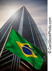 Composite image of brazil national flag - Brazil national...