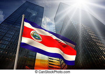 Composite image of costa rica national flag - Costa rica...