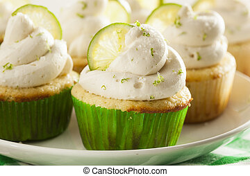 Homemade Margarita Cupcakes with Frosting and Limes
