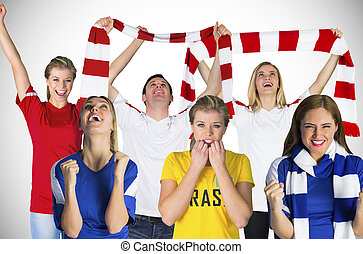 Composite image of football fans against white background...