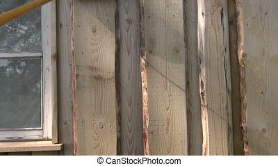 paint wooden house paint roller - paint wooden house wall...