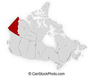 3d Render of Canada Highlighting Yukon