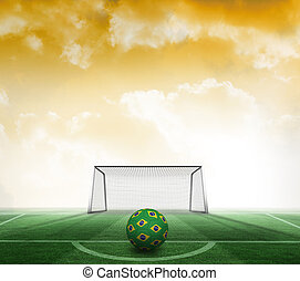 Composite image of football in brazilian colours - Football...