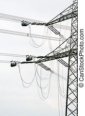 high voltage power pole construction works