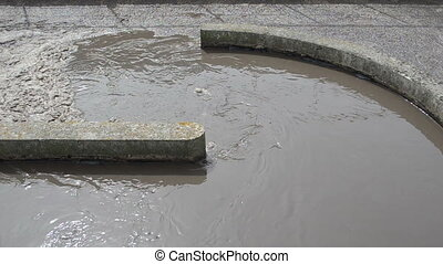 dirty sewage water flow - Dirty sewage water with scum...