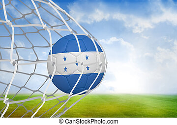 Composite image of football in honduras colours at back of...