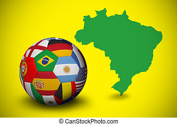 Football in multi national colours against green brazil...
