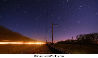 Night rails star trails timelapse - Night rails -green light...