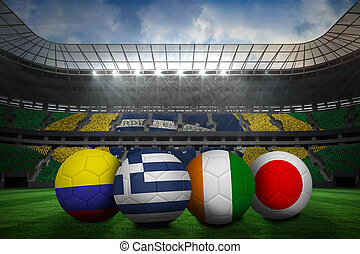Group c world cup footballs in large stadium