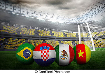 Group a world cup footballs in large stadium
