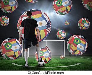compuesto, imagen, fútbol, jugador, sobre, toma, pena