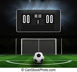 Composite image of black scoreboard with no score and...