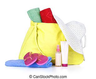 Beach bag with items
