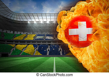 Composite image of fire surrounding switzerland flag...