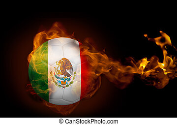 Composite image of fire surrounding mexico ball against...