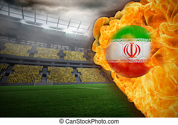 Composite image of fire surrounding iran flag football...