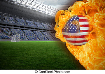 Fire surrounding usa flag football - Composite image of fire...