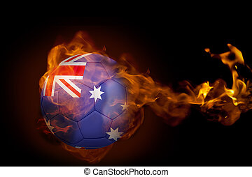 Composite image of fire surrounding australia ball against...