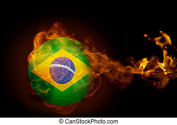 Composite image of fire surrounding brasil ball against...