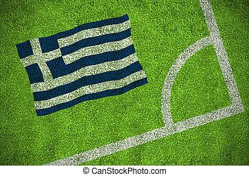 compuesto, imagen, bandera, nacional, grecia