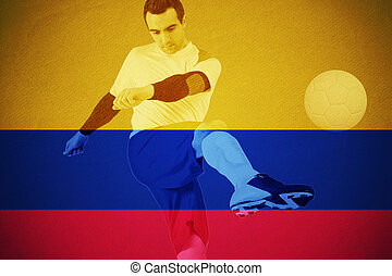 Composite image of football player in yellow kicking -...