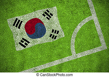 South korea national flag against corner of football pitch