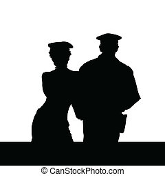 couple in police uniform silhouette on white