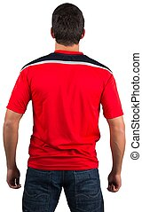 Football fan in red jersey on white background