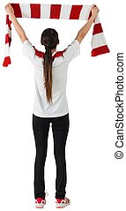 Football fan waving red and white scarf on white background